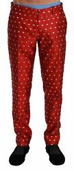 Dolceandgabbana Men Red Pants 100 Silk Crystals Spotted Breathable Dress Trousers