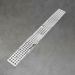 Linear Shower Drain 24 Inch With Removable Grid Panel Brushed 304 Stainless S...