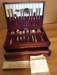 51 Pcs Rogers And Bro Xii Is Dawn Silverplate Flatware Set W/ Storage Chest Box