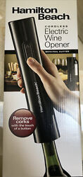 Hamilton Beach Cordless Electric Wine Bottle Opener W/battery Charger 76610