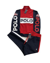 Polo Usa Spell Out Colorblock Double Knit 1/4 Zip Tracksuit Menandrsquos L