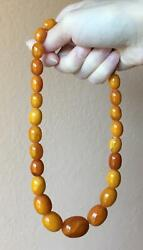 Natural Baltic Amber Butterscotch Egg Yolk Antique German Old Beads Necklace 50g