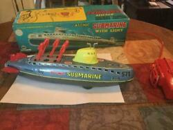 Linemar Toys Submarine Tin Toy Made In Japan Very Rare Vintage