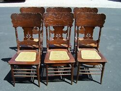 Set Of 6 American Oak Pressed Back Dining Kitchen Chairs Cane Seats Unusual
