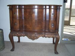 Antique Chest Of Drawers Block Front Burl Wood