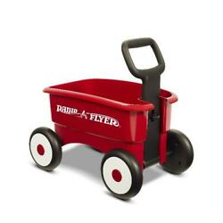 Adjustable Toddler Walker Push Pull Ride On Toy Cart Play Wagon 4 Wheels Red New