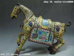 15 Chinese Royal Copper Bronze Cloisonne Enamel Fengshui Lucky War Horse Statue