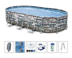 Bestway Power Steel 20ft X 12ft X 48in Pool Set Jet Series Oval Above Ground New