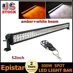 52inch 300w Led Spot Light Bar White+amber Dual Color Off Road Truck Suv Utility