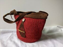 Cute Tribal Red Straw and Leather Basket Bag Shoulder $49.99