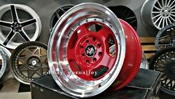 New 15 Inch 4x114.3 8j Et0 Deep Dish Jdm Ssr Style Red Wheels For Nissan Toyota
