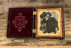 Excellent Civil War Era Tintype Photo Handsome Casual Man Beard And Flowers 1860s