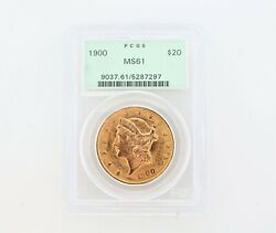 1900 Ms61 Pcgs Liberty Double Eagle 20 Gold Coin