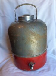 Vintage Jug Camping Thermos Water Cooler Red Silver Gray Spigot
