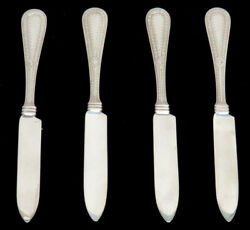 Rare J A Merrill And Co 4 Sterling Silver 5 3/4 Fruit Knives