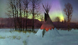 R. Tom Gilleon Hungry Fox Equinox Tipi Indian Giclee Canvas Artist Proof A/p