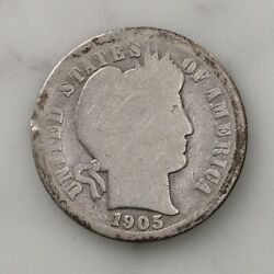 Raw 1905-o Barber 10c Micro O Uncertified Ungraded New Orleans Mint Silver Dime