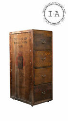 Antique Apothecary Style Quarter Sawn Cabinet With Phonograph Crate Siding