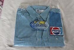 Nos, Vintage Pepsi Delivery Man's Uniform Shirt With Patches Made In Usa