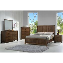 Contemporary Rustic Style Twin 4pc Bedroom Set Bed Dresser Mirror Nightstand