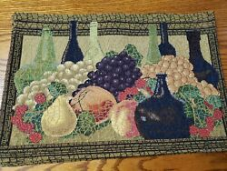 Set 6 Wine And Fruit/grapes Tapestry Place Mats 18 1/2 X 12 1/2 Parkbsmith Nwt