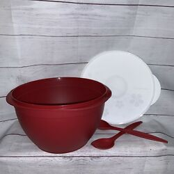 New Tupperware 40 Cup 10l Maxi Salad Bowl Red W/ White Lid And Serving Forks 6583