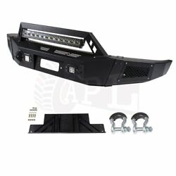 Black Complete Front Bumper Guard For Ford F 150 09-14 Steel + Winch+led Lights