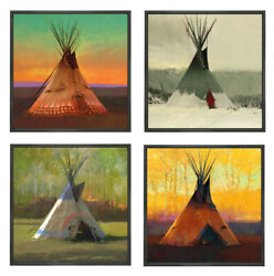 R. Tom Gilleon Saisons Suit Of 4 Tipi Indian Giclee Canvas Artist Proof A/p