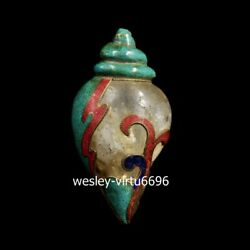 Tibet Buddhism Crystal Inlay Turquoise Coral Conch Sea Snail Trumpet Shell Horn