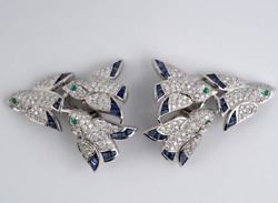 Calibre Blue 2.75ct Sapphires White 4.25ct Cz And Emerald Birds In Flight Earring