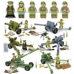 Wwii Us Army Artillery Battery Set 6pc Mini Figures Us Seller 100079