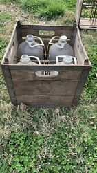 1950a Vintage Wood And Metal Milk Crate And Glass Gallon Jugs With Plastic Handles