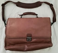 Heritage Brown Leather Flapover Messenger Laptop Briefcase Bag 125551
