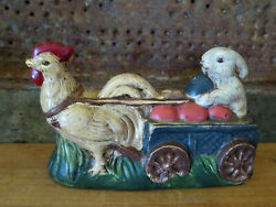 Primitive Chalkware Rooster W Cart Rabbit Easter Bunny Chocolate Mold Inspired