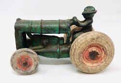 Early Green Cast Iron Arcade Fordson Tractor Toy W/ Man No. 273r M21