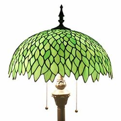 Floor Standing Lamp Stained Glass Green Wisteria Style Shade Antique Reading