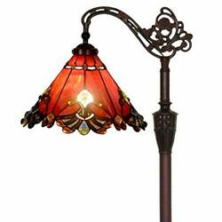 Stained Glass Reading Floor Lamp With 13 Inch Wide Lampshade Metal Base