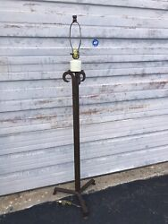 Dana Creath Forged Wrought Iron Candle Top Country French Floor Lamp