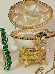 Russian Faberge Real Egg Musical Trinket Emerald Faberge Necklace And Bracelet Set