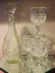 Vintage Indiana Glass Clear Diamond Point Decanter And Wine Goblets - Set Of 7