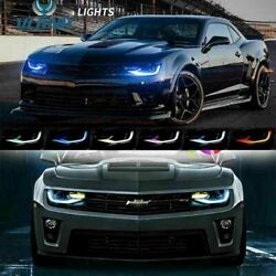 For 2014 2015 Camaro Dual Beam Projector Led Rgb Drl Bar Sequential Headlights