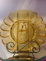 Vintage L E Smith Heritage Amber Glass Deviled Egg/relish Tray Divided Plate 11