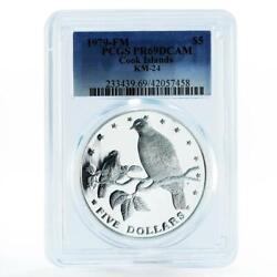 Cook Islands 5 Dollars Wildlife Series Fruit Doves Pr69 Pcgs Silver Coin 1979