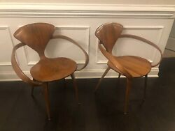 Vintage Pair Of 1960s Norman Cherner Pretzel Armchairs By Plycraft