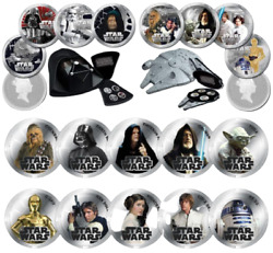 2011 Star Wars - Complete 18 Coin Set Silver Proof And And Unc