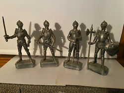 Lot Of 4 Vintage Plastic Knight Figures Statues Medieval Action 8 Hong Kong