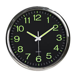 Wall Clocks Night Light Function 12 Inch Non Ticking Silent Quartz Battery