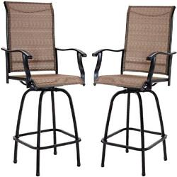 Bistro Swivel Metal Height Patio Bar Chairs All Weather Steel Frame Set Of 2 New