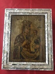 Antique Icon Hand Made Mother Of Pearls Frame From Jerusalem