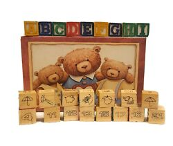 Lot Vintage Wooden Christmas Toy Alphabet Numbers Animals Building Blocks And Box